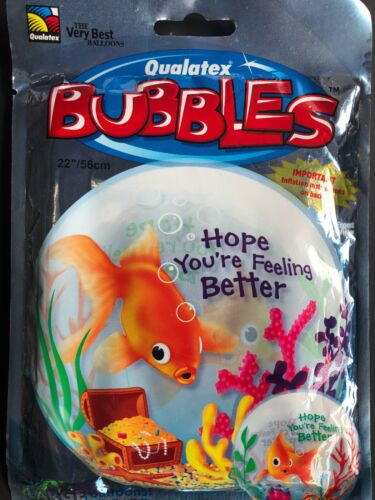 "GET WELL BALLOON 22/"" HOPE YOU/'RE FEELING BETTER SEE THRU BUBBLE HELIUM BALLOON"