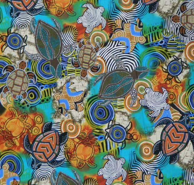 Patchwork Quilting Sewing Fabric ABORIGINAL SEA TURTLES Ocean 50x55cm FQ New ...