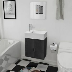 Specchio Bagno Nero.Dettagli Su Mobili Da Bagno Nero Con Lavandino E Specchio Set 3 Pz