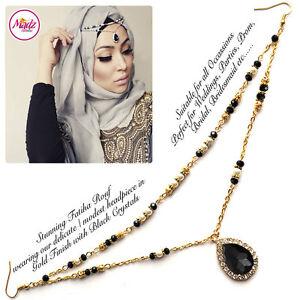 Consciencieux Hijab Pin Wedding Bridal Tikka Cheveux Bracelet Bijoux Tête Pièce Fête Noir-afficher Le Titre D'origine 50% De RéDuction