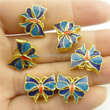 18294 2x Cloisonne Blue Enamel Insect Butterfly 19mm 6 Holes Spacer Bead Crafts
