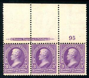 USAstamps-Unused-FVF-US-Serie-of-1895-Grant-Plate-Strip-Sctt-268-OG-MNH