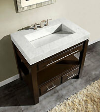 "36"" Dark Walnut Marble Stone Sink Top Cabinet Bathroom Vanity 218WM"