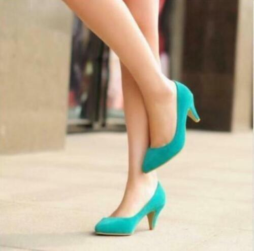 Chic Ladies Pointy Toe OL Slip On Pumps High Heels Dress Womens Shoes Plus
