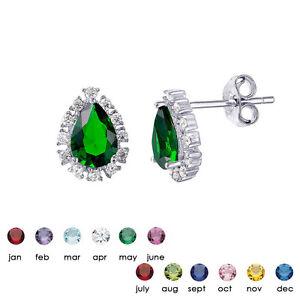 Image Is Loading Sterling Silver Birthstone Earrings Teardrop Halo Cz Earring