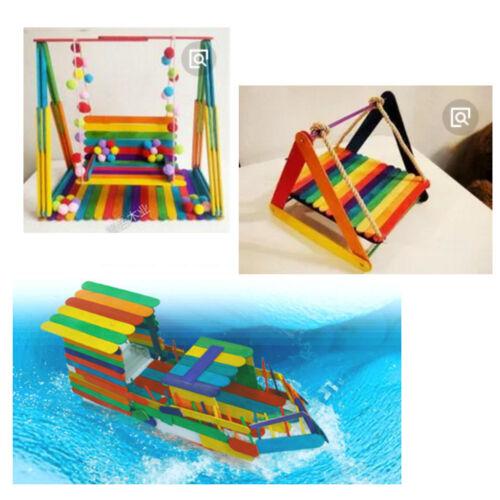 50 Stücke Regenbogen Farbige Popsicle Sticks Holz Treat Sticks für
