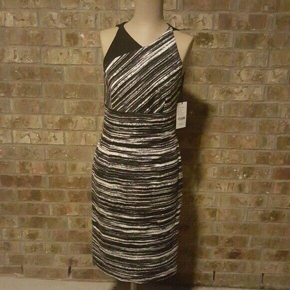 W BY WORTH schwarz Weiß Geo Dress - Größe 2