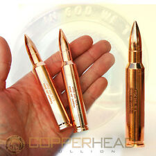 1 x BIG 8oz Solid Copper 50 Cal BMG Bullet Investment Bullion Round .50 Caliber