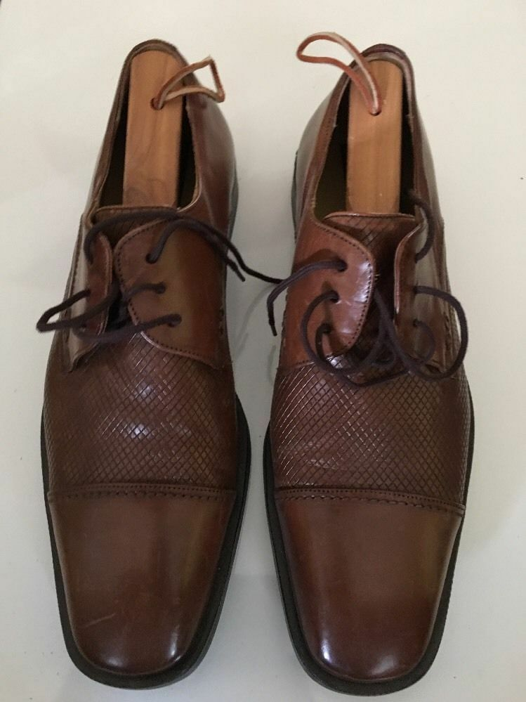 Mezlan Men's Palmas Oxford Cap Toe Leather Leather Leather shoes Handmade in Spain Brown 9 D 4d616c