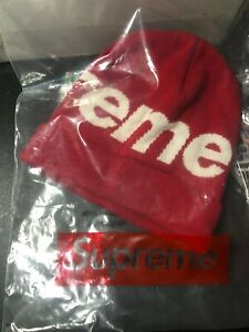 Supreme-Winter-2017-F-W-BIG-LOGO-Beanie-RED-100-Authentic