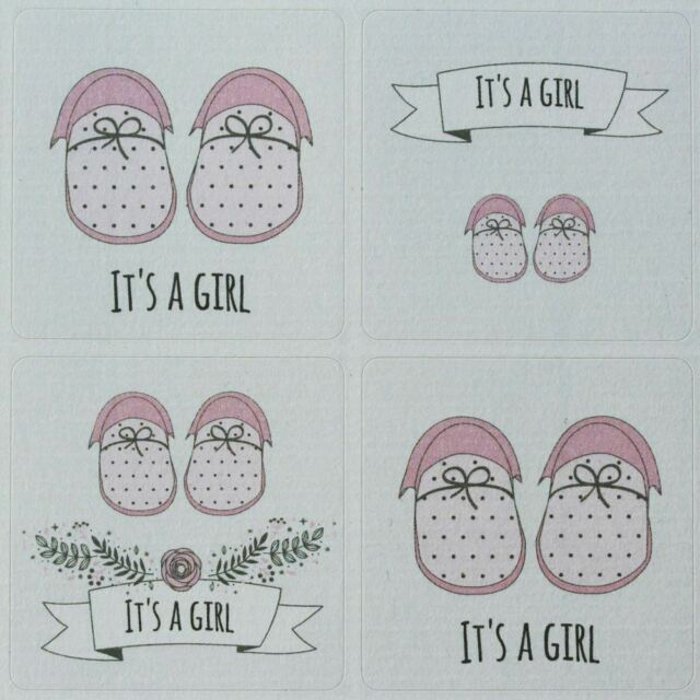 It'S A Girl Sticker Sheet - 35 Stickers - Single Sheet New Baby Shower Shoes