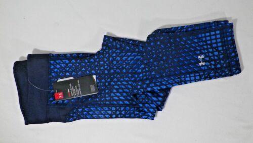 UNDER ARMOUR WOMEN/'S PRINTED HEATGEAR COMPRESSION CROP CAPRI BLUE#1297906-NWT