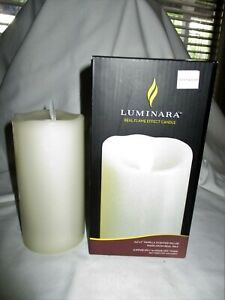 "Luminara 3.5""x 7"" Vanilla Scented Pillar Real Flame Effect ..."