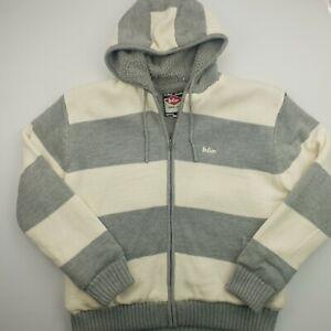 Lee-Cooper-Herren-Vintage-Cardigan-Sherpa-2xl-Grau-Acryl-Hoodie-Full-Zip