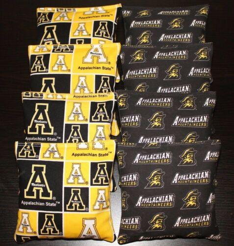 All Weather CORNHOLE BEAN BAGS made w APPALACHIAN STATE Mountaineers fabric NCAA