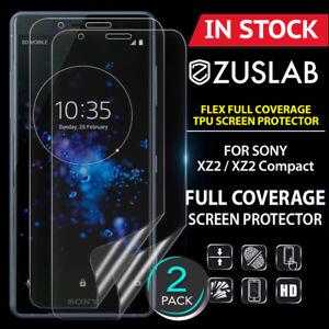 2-X-SONY-XZ2-XZ2-Compact-ZUSLAB-Flex-Full-Coverage-Soft-TPU-Screen-Protector