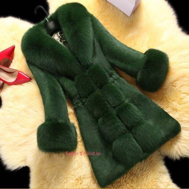 Womens Winter Luxury Faux Fox Fur Coat Hooded Ladies Cozy Warm Jacket Outerwear