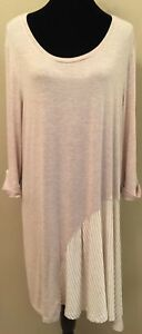 Simply-Noelle-Womens-Tunic-Dress-Sz-Large-XL-Beige-Striped-Long-Sleeve-Stretch