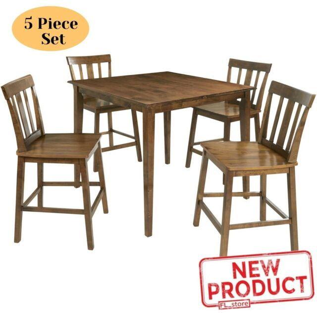 Pearington 5 Piece Counter Height Storage Dining Set Expresso Finish For Sale Online Ebay