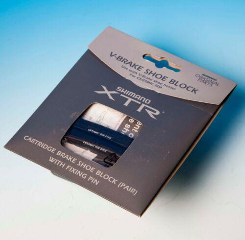 2x Pattini Shimano XTR V-BRAKE SHOE BLOCK FOR CERAMIC RIM CARTRIDGE  NEW MTB