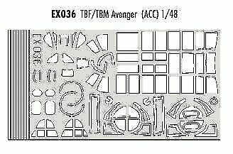 Eduard 1//48 Grumman Tbf//tbm Avenger Paint Mask for Accurate Miniatures # EX036 for sale online