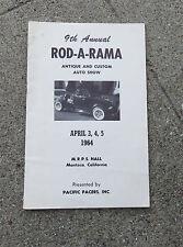 Original 1964 9th Annual Rod-A-Rama Antique Custom Auto Show Program Manteca Ca