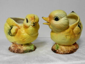 Vintage NAPCOWARE/Napco Set of 2 YELLOW BABY CHICK & DUCKLING Planter Vases