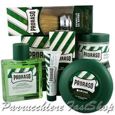 Green Kit5 Proraso ® After Shave + Repair Gel + Pre-Shaving + Sh. Soap + Brush