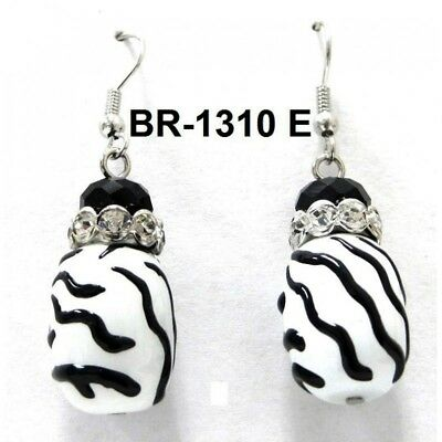 White Black Zebra Stripe Animal Print Cross Dangle Earrings Silver Tone Clear j1
