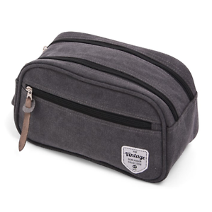 Mens-Gray-Canvas-Travel-Toiletry-Bag-Washing-Grooming-Kit-Handy-Double-Zippers