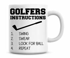 Funny Golfers Instructions Coffee Mug Personalised Golf Mug Christmas Gift