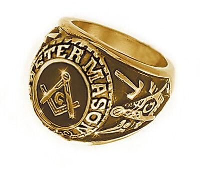 Free Mason Ring - Freemasonry College Style GOLD Color Steel Mens Masonic Rings