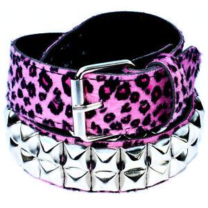 Rosa Leopardo Pirámide Cinturón De Tachuelas - punk rockabilly