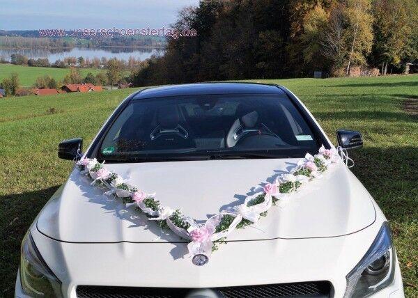 Autoschmuck autogirlande autodekoration Rose mariage brautauto Rose autodekoration Blanc au0030 long 2acc73