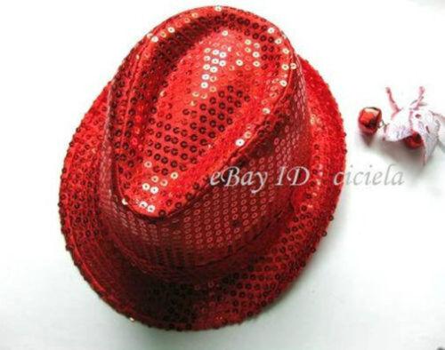 Shiny Sequin Sparkle Trilby Hat Fedora Party Jazz Fancy Dress Stage Dance Cap