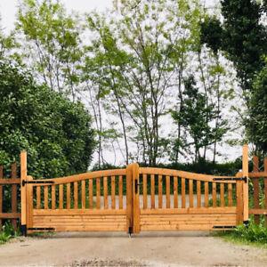 Cancello Carrabile Doppio In Legno Di Pino Naturale 400 X 130 Cm Per