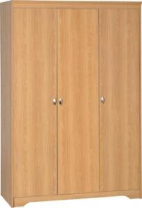 Regent 3 Door Wardrobe Teak Effect Veneer Wooden Closet Bedroom