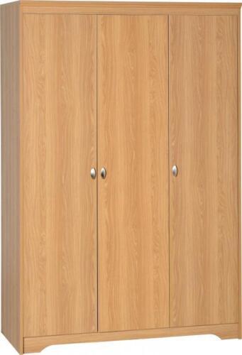 Regent 3 Door Wardrobe Teak Effect Veneer Wooden Closet Bedroom Large UK Stock