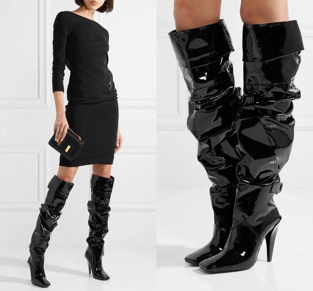 Sensual Mujer Taco Alto Puntera Cuadrada Charol botas Altas Slouch hasta la rodilla US4.5-15