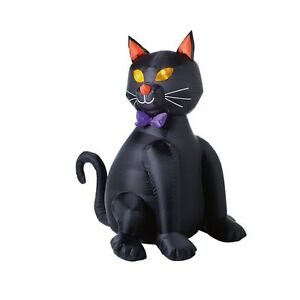 Inflatable lighted black halloween cat 48 tall ebay for Cat outdoor christmas decorations