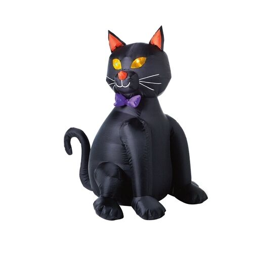 """Inflatable Lighted Black Halloween Cat - 48"""" Tall"""