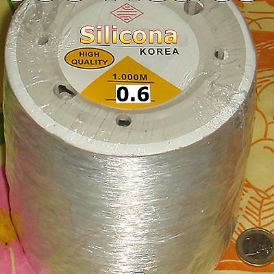 1 Carrete Hilo Elástico de Silicona 1mm x 100 Metros Bisuteria Rubber Elastic