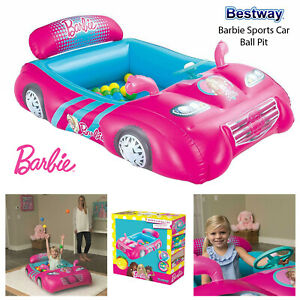 Bestway-Barbie-Ball-Pit-Sports-Car-Kids-Girl-Inflatable-Indoor-Outdoor-Play-Pink