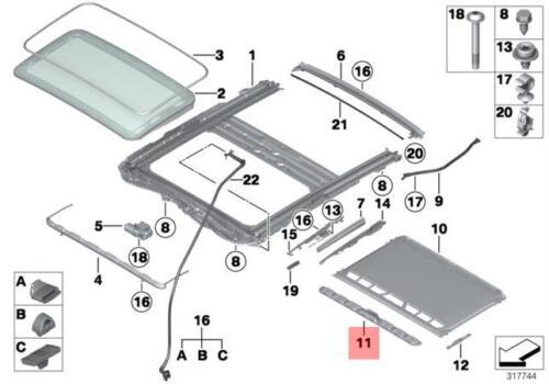 Genuine BMW F20 F20N F21 F21N Handle Fan Strip Everest Gray OEM 54107309636