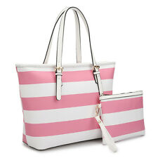 New Dasein Women Striped Leather Tote Bag Shoulder Bag Handbag Purse w/ Wallet