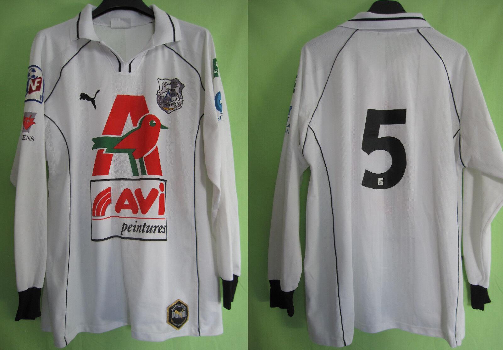 Maillot AMIENS ASC porté  5 Puma match worn shirt Auchan Avi Vintage  XL