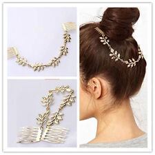 Boho Princess Leaf Hair Chain Comb Jewelry Greek Garland Barrette Clip Gold Tone