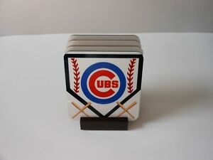 CHICAGO CUBS BASEBALL COASTER SET OF 4 WITH SLOTTED MAHOGANY  STAND COASTERS