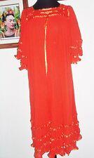 MEXICAN RUFFLE GYPSY DRESS HIPPIE COTTON CROCHET 6O's BEIGE SZ S 2XX ONE SIZE