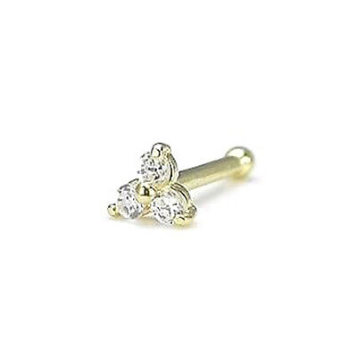 14k Solid Gold Nose Stud Bone Pin Ring 3 Stone Cluster